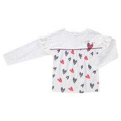 Μακρυμάνικη μπλούζα με βολάν στα μανίκια και μοτίβο καρδιές