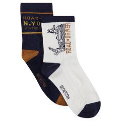 Σετ με 2 ζευγάρια ασορτί κάλτσες με μοτίβα ζακάρ σε λευκό / μπλε μαρίν χρώμα