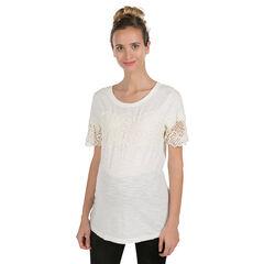 Κοντομάνικη μπλούζα εγκυμοσύνης με δαντέλα με λουλούδια