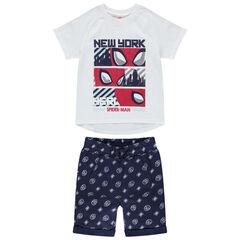 Σύνολο με μπλούζα και βερμούδα με μοτίβο Spiderman σε όλη την επιφάνεια