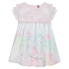 Κοντομάνικο φόρεμα με στάμπα σε όλη την επιφάνεια μπροστά και φιόγκους στα μανίκια
