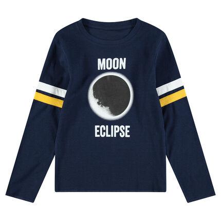 Παιδικά - Μακρυμάνικη μπλούζα ζέρσεϊ με τύπωμα έκλειψη