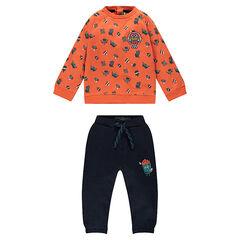 Φόρμα από φανέλα με κουκούλα και κεντημένο μοτίβο χάμπουργκερ και παντελόνι με στάμπα ποπ κορν