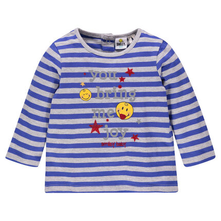Tee-shirt manches longues rayé print Smiley