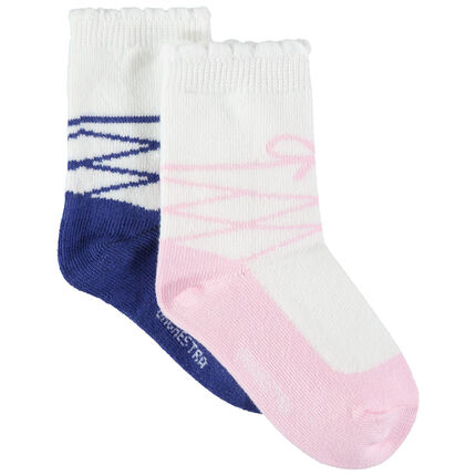 Σετ 2 ζευγάρια κάλτσες με ζακάρ μοτίβο μπαλαρίνα