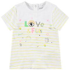 Κοντομάνικη ριγέ μπλούζα με πολύχρωμα μοτίβα