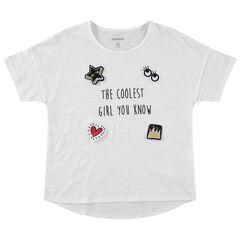 Παιδικά - Κοντομάνικη ζέρσεϊ μπλούζα με απλικέ σήματα