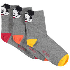 Σετ με 3 ζευγάρια ασορτί καλτσάκια σε ριμπ ύφανση με τον Mickey της Disney