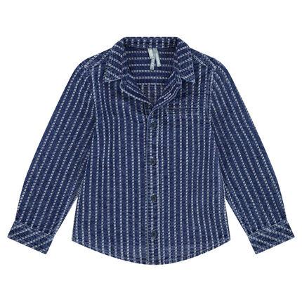 Μακρυμάνικο βαμβακερό πουκάμισο σε στιλ τζιν
