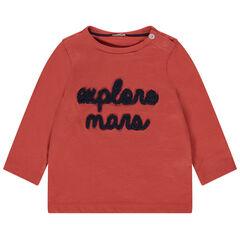 T-shirt manches longues en coton bio à inscription en bouclette