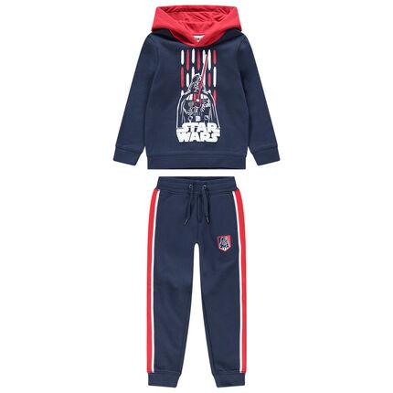 Φόρμα από φανέλα με λωρίδες σε αντίθεση και στάμπα Darth Vader από το Star Wars