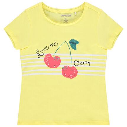 Μπλουζάκι κοντομάνικο από οργανικό βαμβάκι με τύπωμα φαντεζί