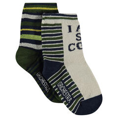 Σετ 2 ζευγάρια κάλτσες με ζακάρ ρίγες