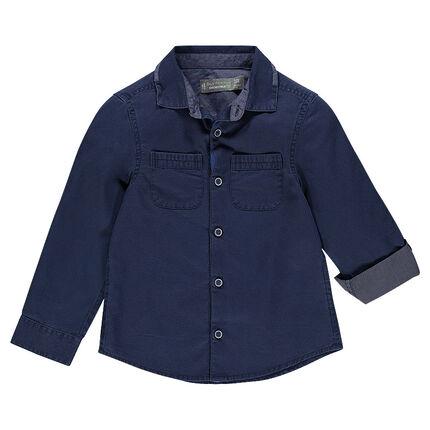 Μακρυμάνικο πουκάμισο με 2 πλακέ τσέπες και ανάγλυφη ύφανση