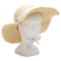Ψάθινο καπέλο με σιρίτι από δαντέλα