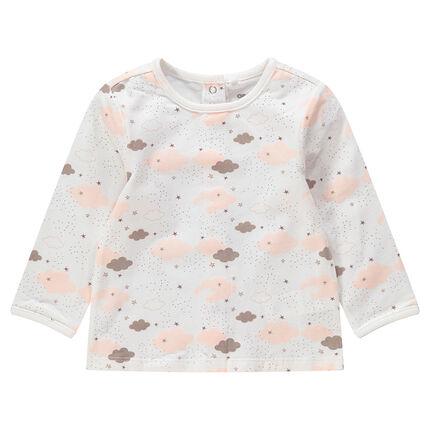 Μακρυμάνικη μπλούζα ζέρσεϊ με τυπωμένα συννεφάκια σε όλη την επιφάνεια