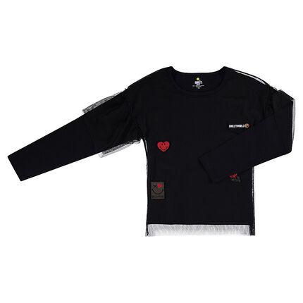 2a7513f51145 Μακρυμάνικη μπλούζα από ζέρσεϊ με τούλι και σήματα ©Smiley ...
