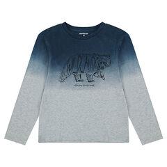 Παιδικά - Μακρυμάνικη μπλούζα ζέρσεϊ με όψη ξεβαμμένου και τυπωμένο ζωάκι
