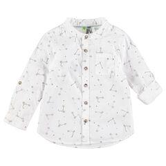 Μακρυμάνικο πουκάμισο με εμπριμέ μοτίβο πατίνια