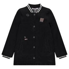 Παιδικά - Μακρύ φουσκωτό παλτό από βαμβακερό τζιν ύφασμα με διακοσμητικά σήματα