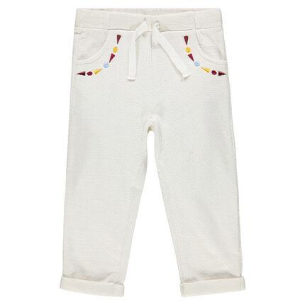 Pantalon en molleton jacquard pailleté brodé