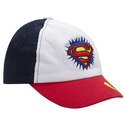 Τρίχρωμο καπέλο από τουίλ με κεντημένο λογότυπο Superman της Warner