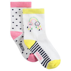 Σετ 2 ζευγάρια ασορτί κάλτσες με ζακάρ πουά και ουράνιο τόξο