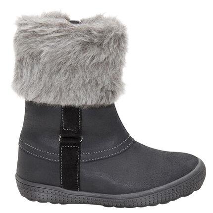 Δερμάτινες μπότες με συνθετική γούνα στο άνοιγμα