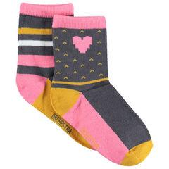 Σετ 2 ζευγάρια κάλτσες με ζακάρ μοτίβα