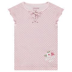 Κοντομάνικη μπλούζα με πουά μοτίβο και δέσιμο στη λαιμόκοψη