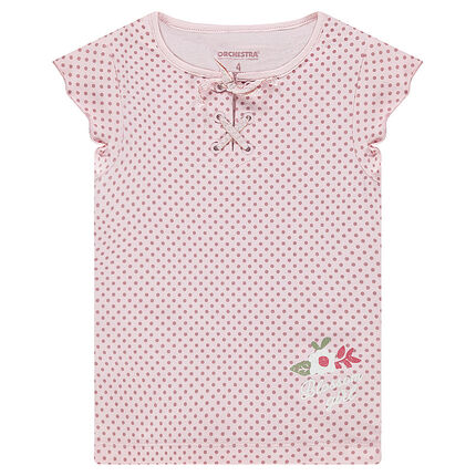 bb84b6bbd3d Κοντομάνικη μπλούζα με πουά μοτίβο και δέσιμο στη λαιμόκοψη ...