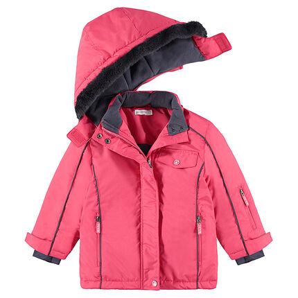 Μπουφάν του σκι ροζ με επένδυση φλις