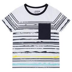 Κοντομάνικη μπλούζα από ζέρσεϊ με κυματιστές ρίγες και τσέπη