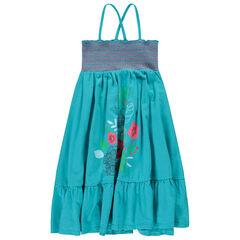 Μακρύ φόρεμα με σφηκοφωλιά και τυπωμένα λουλούδια
