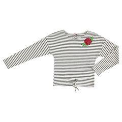 Παιδικά - Μακρυμάνικη ριγέ μπλούζα εγκυμοσύνης με κεντημένο τριαντάφυλλο