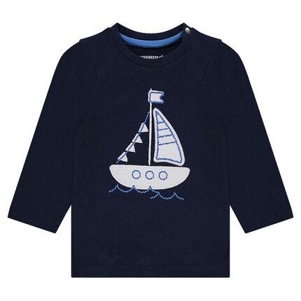 Μακρυμάνικη μπλούζα με μπάλωμα καράβι