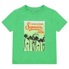 Κοντομάνικη μπλούζα ζέρσεϊ με διακοσμητική στάμπα με θέμα τις διακοπές
