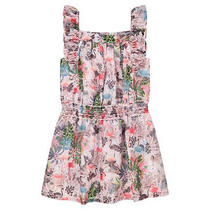 Φλοράλ φόρεμα με τιράντες και βολάν
