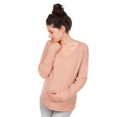Πλεκτό πουλόβερ εγκυμοσύνης σε ριγωτή πλέξη