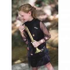 Παιδικά - Φόρεμα 2 σε 1 από τούλι plumetis με μπαλώματα με σήματα