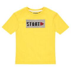 Κοντομάνικη κίτρινη ζέρσεϊ μπλούζα με μήνυμα από «μαγικές» πούλιες