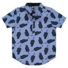 Κοντομάνικο πουκάμισο από σαμπρέ ύφασμα με μοτίβο παγωτά