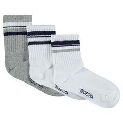 Σετ 3 ζευγάρια ασορτί κάλτσες με λωρίδες σε αντίθεση
