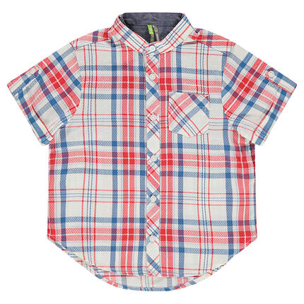 Κοντομάνικο καρό πουκάμισο με γιακά μάο