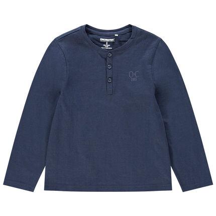 Μακρυμάνικη ζέρσεϊ μπλούζα με κεντημένο λογότυπο