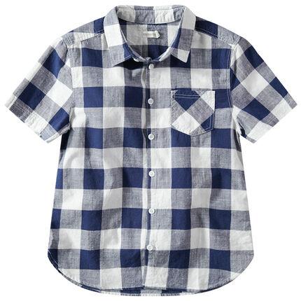 Παιδικά - Κοντομάνικο πουκάμισο με καρό σε αντίθεση