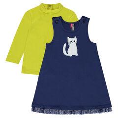 Σύνολο με φανελένιο φόρεμα με τυπωμένη γάτα και μπλούζα