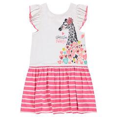 Κοντομάνικο φόρεμα με βολάν και στάμπα καμηλοπάρδαλη