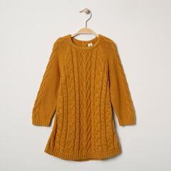 Πλεκτό μακρυμάνικο φόρεμα στο χρώμα της ώχρας με διαφορετικές πλέξεις