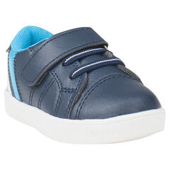 Αθλητικά παπούτσια από συνθετικό δέρμα με ελαστικά κορδόνια και αυτοκόλλητο βέλκρο